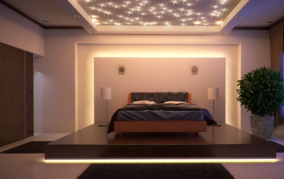 oświetlenie led sypialni z barwą ciepłą